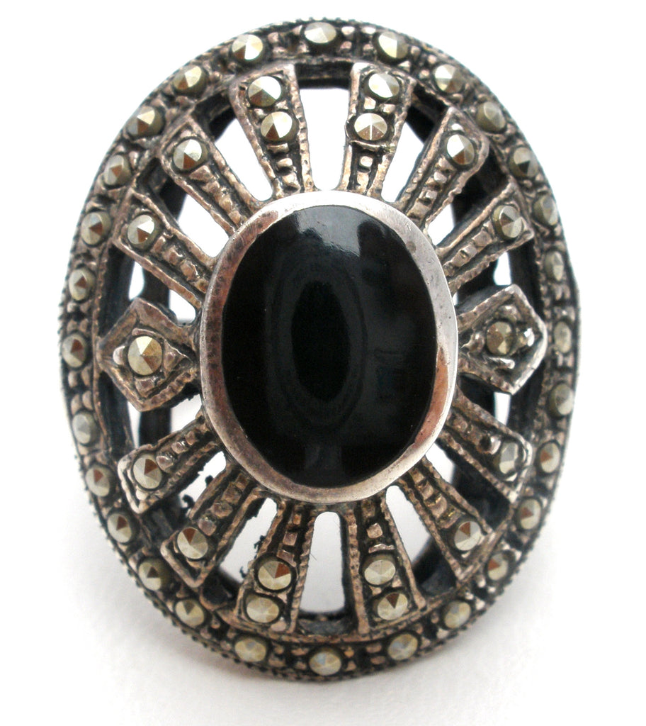 Sterling Silver Black Onyx & Marcasite Ring Vintage - The Jewelry Lady's Store
