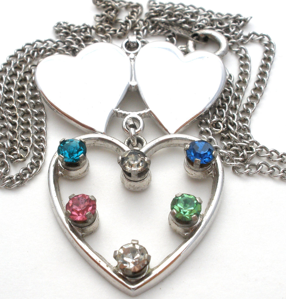 Vintage Sterling Silver Rhinestone Heart Necklace Anson - The Jewelry Lady's Store