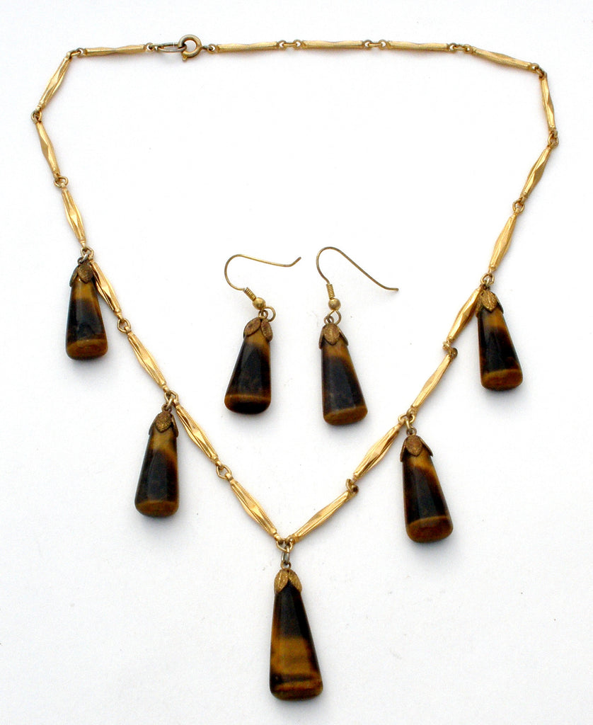 Vintage Tiger's Eye Necklace & Earrings Set - The Jewelry Lady's Store