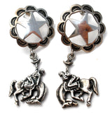 Western Horse & Star Dangle Earrings Vintage - The Jewelry Lady's Store