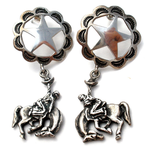 Western Horse & Star Dangle Earrings Vintage
