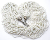 White 30 Strand Torsade Seed Bead Necklace - The Jewelry Lady's Store