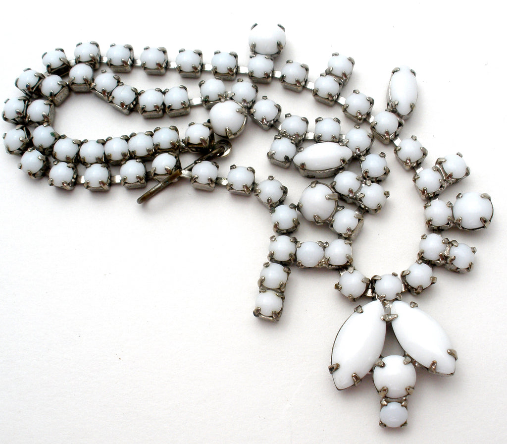 "White Milk Glass Rhinestone Necklace 15"" - The Jewelry Lady's Store"