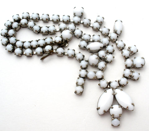 White Milk Glass Rhinestone Necklace 15""