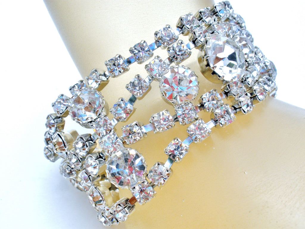 Wide Bracelet with Clear Rhinestones Vintage - The Jewelry Lady's Store