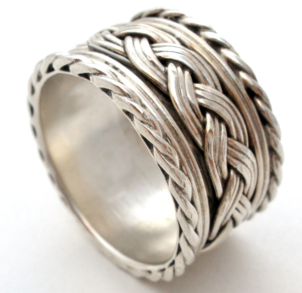 Wide Braided Band Ring Sterling Silver Vintage - The Jewelry Lady's Store