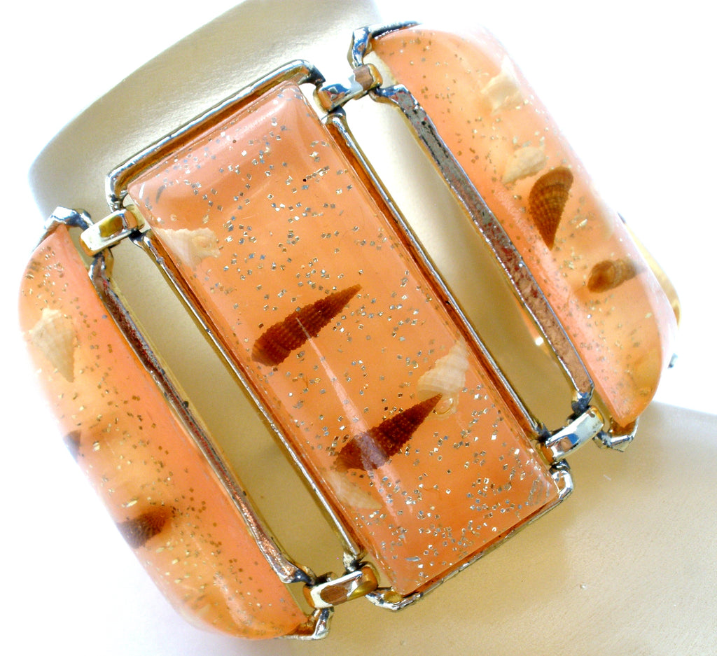 Wide Confetti Lucite Bracelet Vintage - The Jewelry Lady's Store