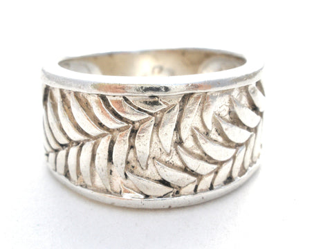 Wide Sterling Silver Leaf Band Ring Size 5.5 Vintage