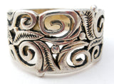 Wide Sterling Silver Open Work Band Size 8 - The Jewelry Lady's Store