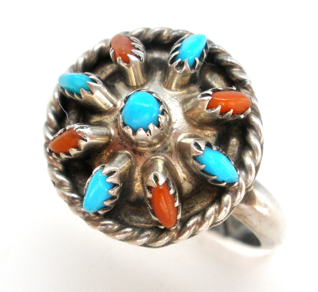 Needlepoint Turquoise & Coral Ring JHK - The Jewelry Lady's Store