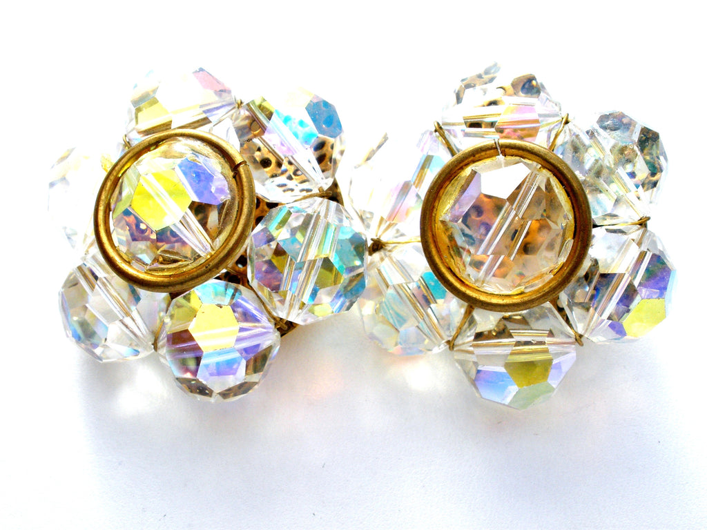 Large Aurora Borealis Crystal Cluster Bead Earrings Vintage - The Jewelry Lady's Store