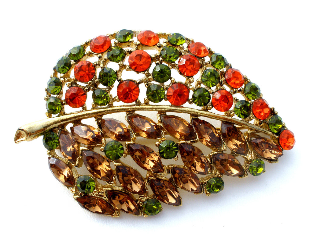 Vintage Leaf Brooch Rhinestone Jewelry Pin - The Jewelry Lady's Store