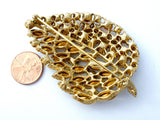 Vintage Leaf Brooch Rhinestone Jewelry Pin - The Jewelry Lady's Store - 6