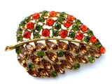 Vintage Leaf Brooch Rhinestone Jewelry Pin - The Jewelry Lady's Store - 1