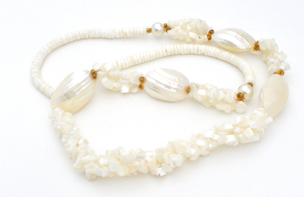 Pucca SeaShell and Mother Of Pearl Necklace Vintage - The Jewelry Lady's Store