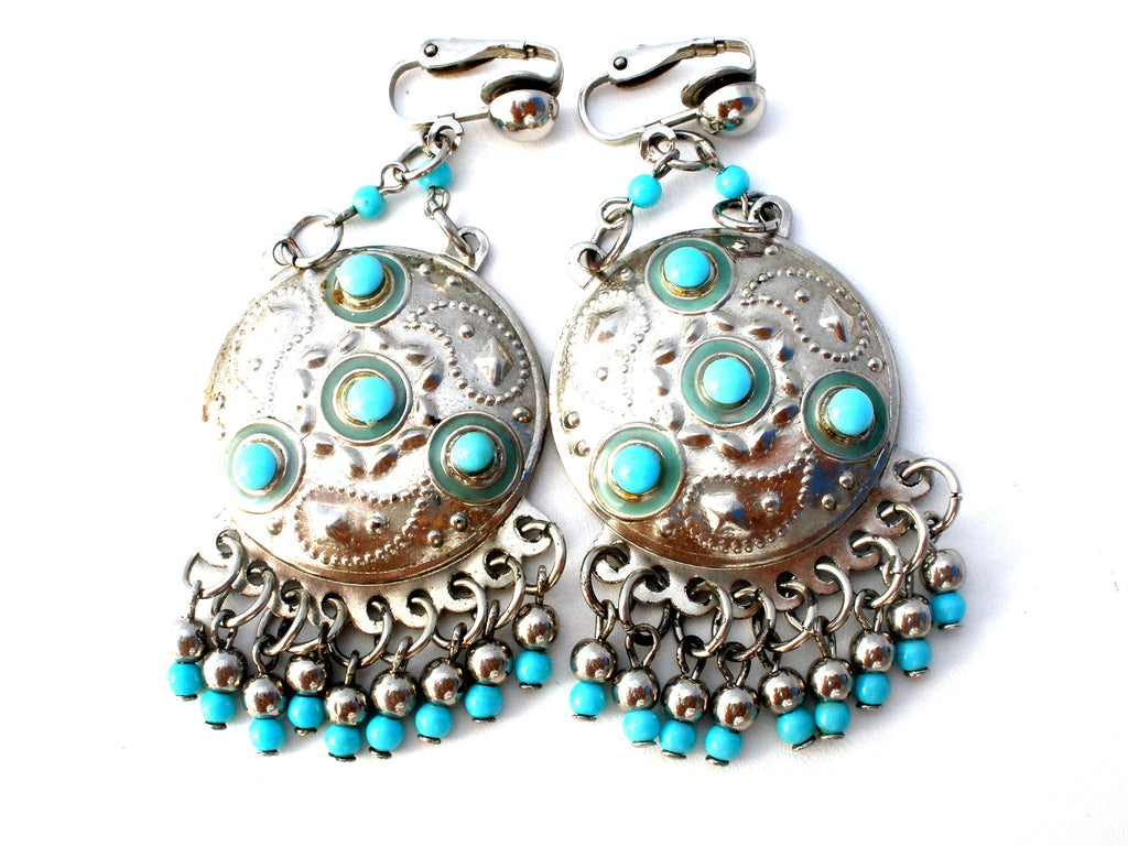 Boho Turquoise Blue Earrings Vintage Dangle - The Jewelry Lady's Store