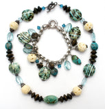 Turquoise & Art Glass Sterling Silver Necklace Bracelet - The Jewelry Lady's Store - 1