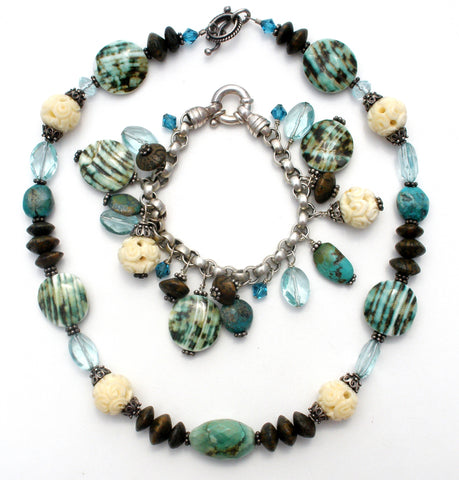 Turquoise & Art Glass Sterling Silver Necklace Bracelet
