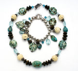 Turquoise & Art Glass Sterling Silver Necklace Bracelet - The Jewelry Lady's Store - 2