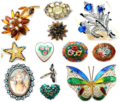 vintage antique enamel rhinestone brooches pins