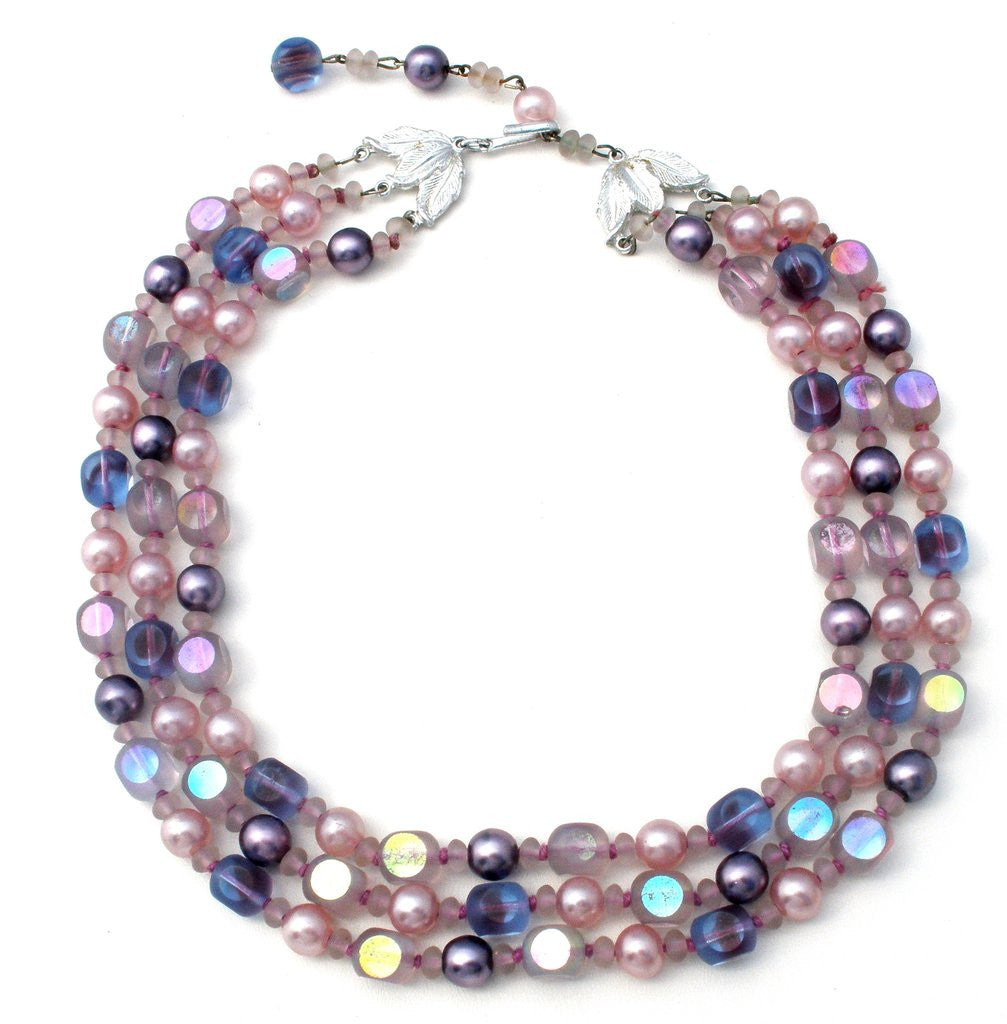 Rockabilly purple and pink glass bead necklace the jewelry lady's store