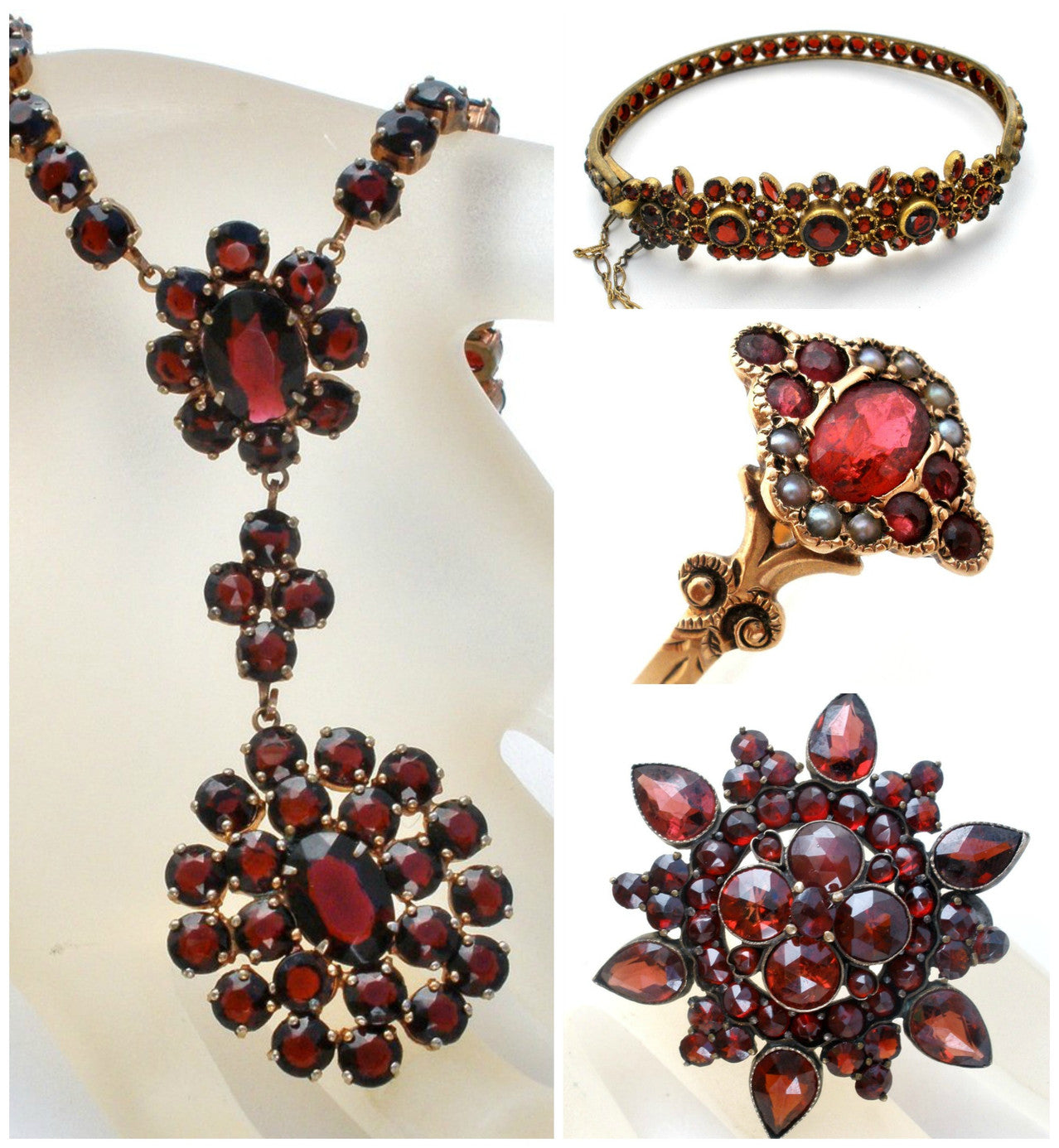Bohemian Garnets rubies victorian antique jewelry the jewelry lady's store