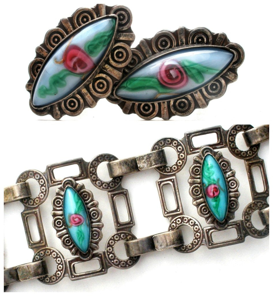 Sterling silver mexican set with french glass the jewelry lady's store