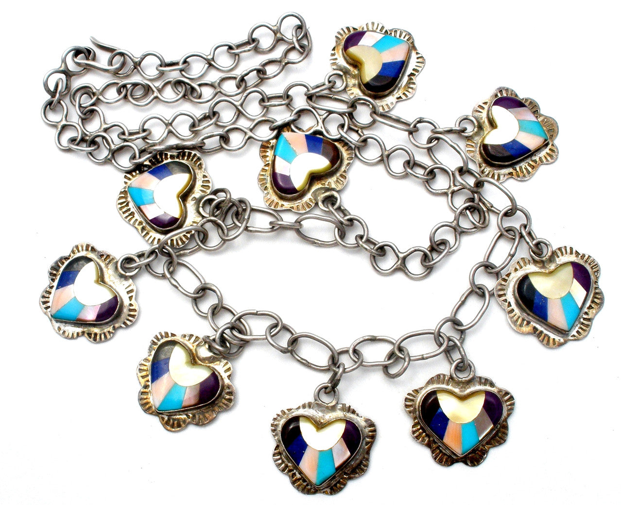 Sterling Silver Heart Necklace with Gemstones Vintage the jewelry lady's store