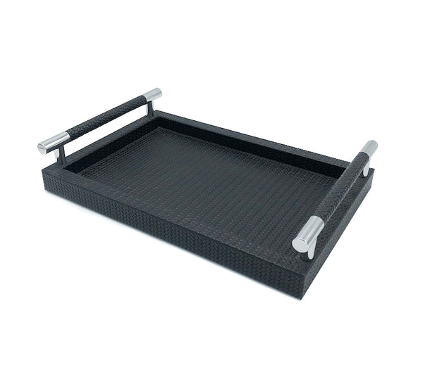 Leather trays with stainless steel handles