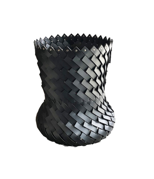 Leather Woven Basket - Tall