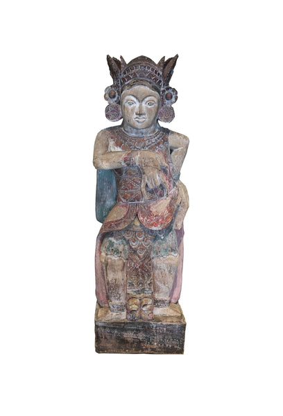 Indonesian hand carved wooden painted Balinese Female dancer sculpture