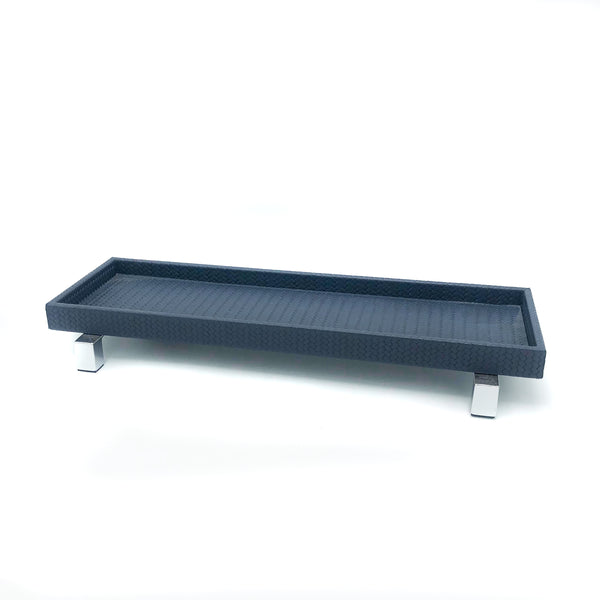 Leather tray with stainless steel base