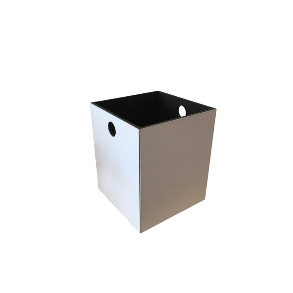 Cream colored leather trash can handmade in Italy