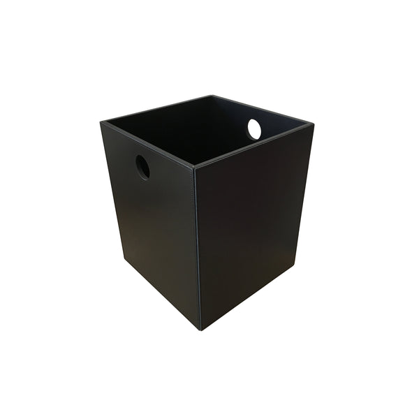 Black leather trash can handmade in Italy