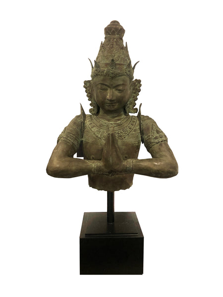 Indonesian brass Buddha on stand