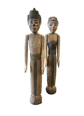 Indonesian couple hand carved and hand painted figurines in wood