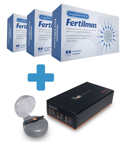 3-Month Fertility Bundle - Supplemena Fertilmas + Trak Male Fertility Testing System