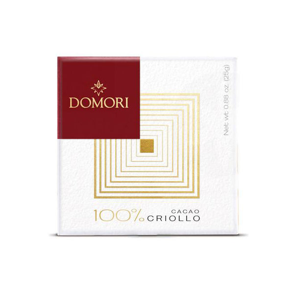 Domori 100% Criollo Dark Chocolate 25 gr bar (Sugar Free)