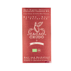 Cacao Crudo Raw Organic Goji and Buckwheat Dark Chocolate Bar