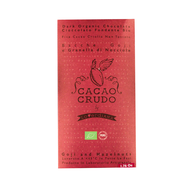 Cacao Crudo Raw Organic Goji and Hazelnut Dark Chocolate Bar
