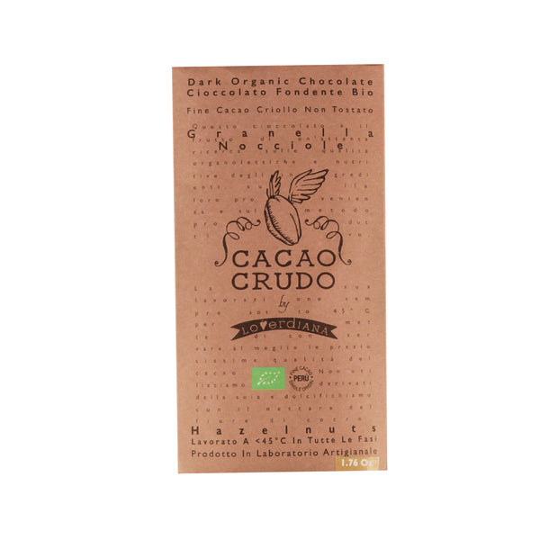 Cacao Crudo Raw Organic Chopped Hazelnuts Dark Chocolate Bar