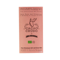 Cacao Crudo Raw Organic Himalayan Salt and Cacao Nibs Dark Chocolate Bar