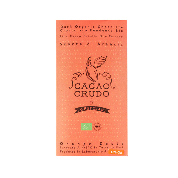 Cacao Crudo Raw Organic Orange Zest Dark Chocolate Bar