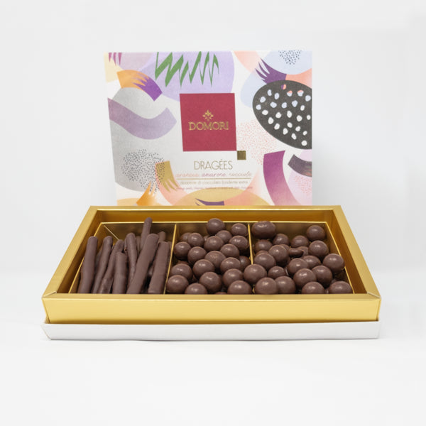 Domori Gift Box Dragées Orange Peels, Cherries, Hazelnuts Covered with Dark Chocolate