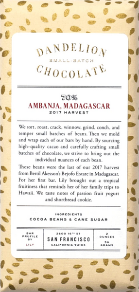 Dandelion Ambanja, Madagascar 70% Dark Chocolate