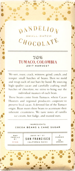 Dandelion Tumaco, Colombia 70% Dark Chocolate