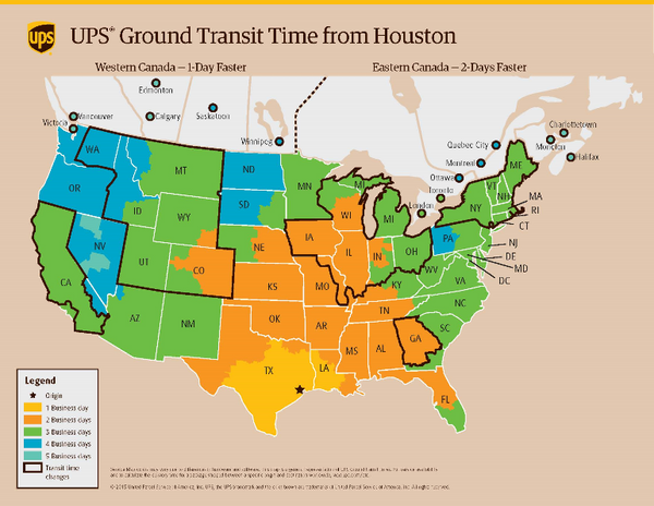 UPS Ground Transit time from Houston