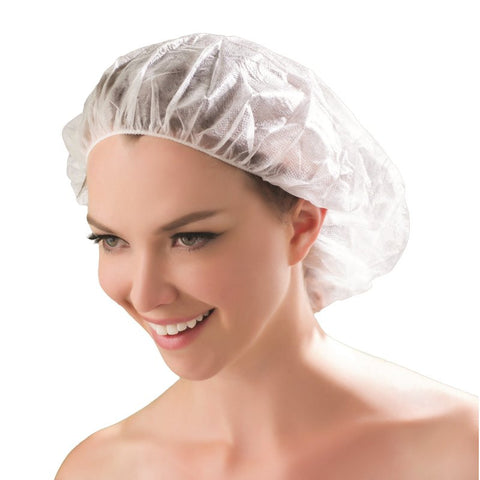 Dukal White Bouffant Cap, 100 ct