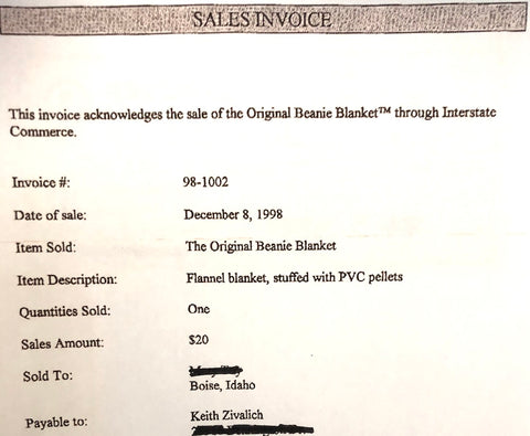 First Sale Invoice for Magic Weighted Blankt