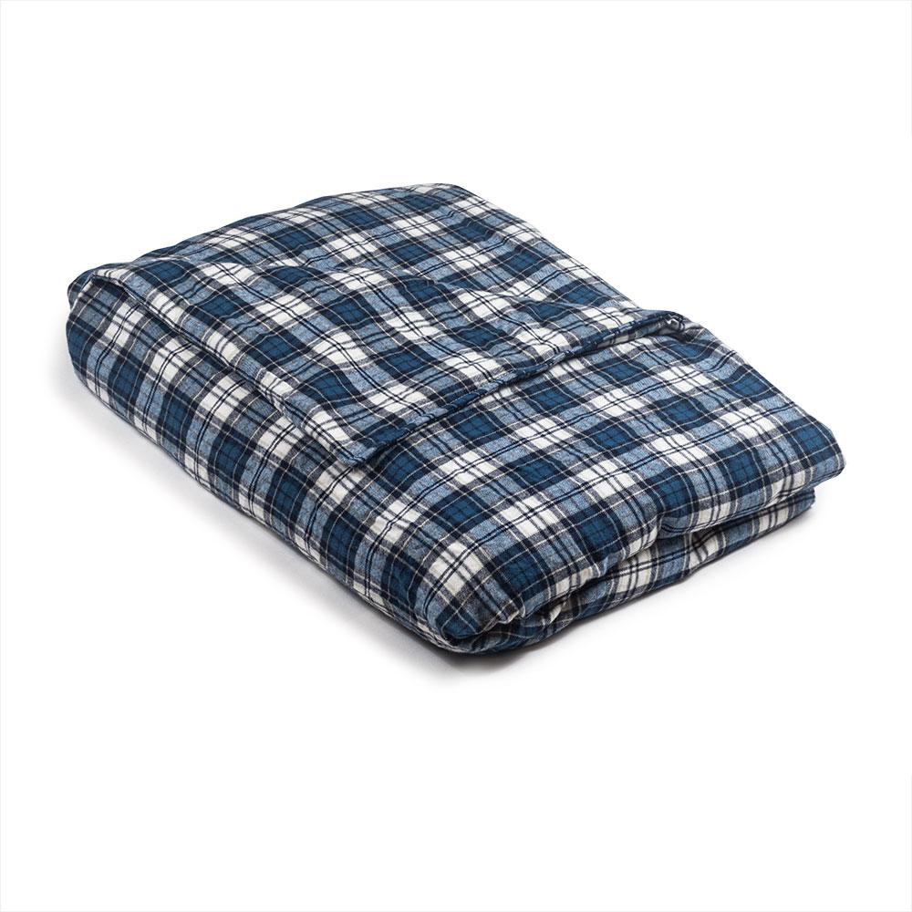 Blue & Gray Plaid Flannel Magic Weighted Blanket - Magic Weighted Blanket